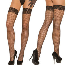 Elegant Moments Black Fence Net/fishnet Silicone Grip Stay Up Stockings