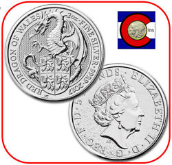 2017 Queen#x27;s Beast Red Dragon of Wales 2 oz Silver UK Coin in direct fit capsule