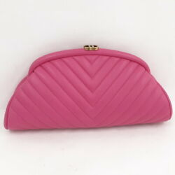 Used Lamb Skin Quilted Clutch Bag With Guarantee Card Pink