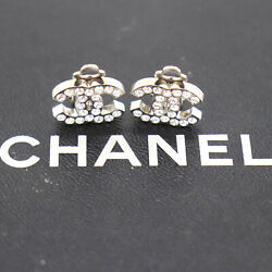 Cc Rhinestone Used Earrings Silver Clip-on 06 V France Vintage Auth Be16