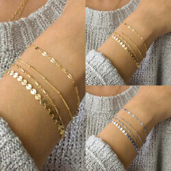 4pcs/set Adjustable New Bohemia Multilayer Gold Silver Color Coin Lace Chain