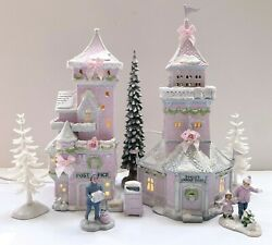 Dept 56 North Pole   Post Office Lookout Shabby Pink Chic Rose