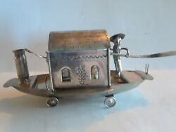 Antique Chinese Silver Novelty Boat Condiment Figural Salt Mustard Pepper