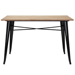 Dining Table 47.24 In. L X 29.13 In. H 4-legs Unfinished Wood Metal Seat Of 6