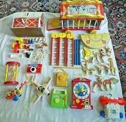 Huge Lot Vintage Fisher Price Toys Farm Circus Clock Phone Radios. All As Is