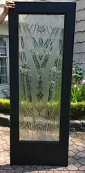 Antique 1930s Art Deco Door Frosted Etched - Architectural
