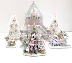 Dept 56 North Pole Santa's Rooming House Sleigh Reindeer Shabby Pink Chic Lemax