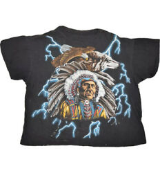 Vintage American Thunder Indian T Shirt Mens L Single Stitch Usa Made Faded