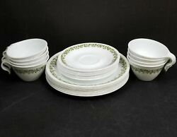 Vintage 1970's Corelle By Corning Crazy Daisy Spring Blossom Dishes 36 Pieces Se