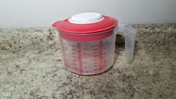 Tupperware Mix N Stor Measuring Batter Bowl 8 Cup / 2qt Red Pitcher