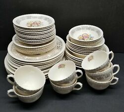 Vintage 6 Places Dinner Set Of Petit Point By British Empire Ware 1048-50 22k Go