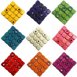 100pcs 6mm Wood Beads Square Loose Beads Jewelry Accessories Diy Findings