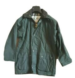 Womens Wax Oil Coat Jacket Country Wear Green Mid Length Made In Uk Size S - 32