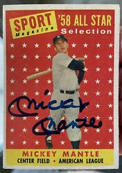 Mickey Mantle 1958 Topps 487 Autograph Auto Signed