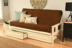 With Drawers Antique White Victoria Futon Frame Suede Mattress Sofa Bed Set