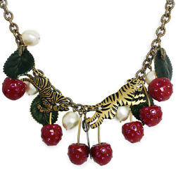 Unused 469466 Cherry Statement Ladies Necklace With Box And Storage Bags