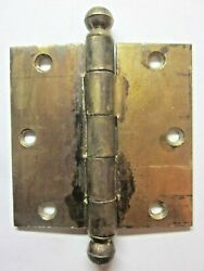 National 3-1/2 Mortise Barn Door Brass Plated Ball Tip Finial Hinge 1 Antique