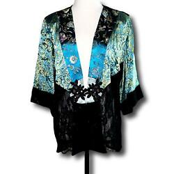 Spencer Alexis Top Mixed Fabrics Lace Burnout Embroidered Frog Closure Sz Xl