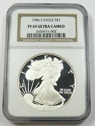 1986 Ngc Pf69 Ultra Cameo Proof Silver American Eagle Dollar 1 Us Coin 28842a