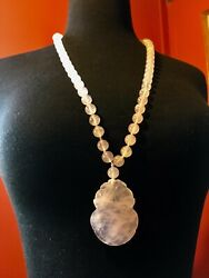 Pink Jade Antique Bead Necklace W Large Pendant