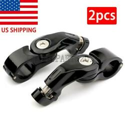 Black Motorcycle Foot Pegs Mount For Harley-davidson Softail Deluxe Slim Fatboy