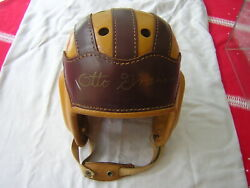 Antique 1930's Leather Football Helmet Signed By Otto Graham Cleveland Browns