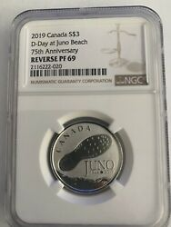 3 2019 Canada Ngc Reverse Pf69 75th Anniversary-d-day At Juno Beach S3 Canada