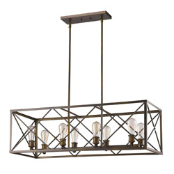 Pendant 8-light Adjustable Hanging Length Dry Rated Steel Hardware Included