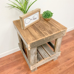 End Table Sofa Side Accent Rustic Farmhouse Display Shelves Solid Wood Furniture