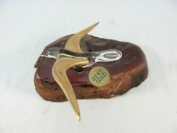 Art Glass Seagull Sculpture Figurine On Burl Wood Base 22k Gold Accent On Wings