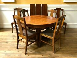 Antique Oak Mission Craftsman Style Round Dining Table With 3 Leaves And 6 Chair