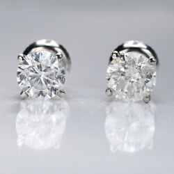 Andpound9100 1.50 Ct Diamond Stud Earrings On Sale 14k White Gold Si1 29350798