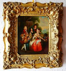 French 18th Cent. Happy Family Oil Painting On On Tin Plate