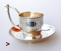 1888 Russian Imperial 84 Sterling Silver Tea Cup Saucer/ 226gr