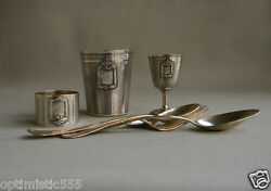 1872 Antique Sterling Silver Egoist 7 Parts Mini Set 2cups Ring Fork 3 Spoons