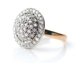 1885 Antique Halo Diamonds Ring Solid 18k Yellow Gold Silver Andoslash Us7.75 /6gr