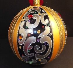 Waterford Holiday Heirlooms 2013 Opulence 5 Sapphire Scroll Ball 162985