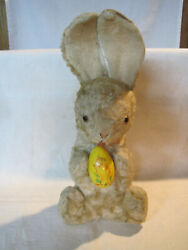 Vintage Stuffed Easter Bunny Rabbit W/ Glass Eyes And Plastic Rattle Egg W/ Chick