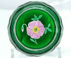 Gorgeous Francis Whittemore Faceted Paperweight Pink Flower And Bud Free Ship