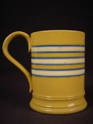 Extremely Rare 1800s Antique Mini Blue And White Band Tankard Yellow Ware Mint