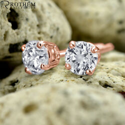 Andpound12100 2.00 Carat Diamond Stud Earrings Screw Back Rose Gold 14ct Si1 03151299