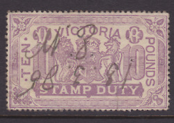 Victoria Rare 1881 £10 Pounds Lilac Qv Stamp Duty Used Sg 279 Cv400+ Lg140