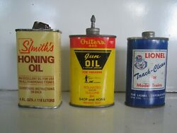 Vintage 3 Oil Tin Cans Outers Gun Oil Smiths Honing Andtrack Cleaner 4 Model Train