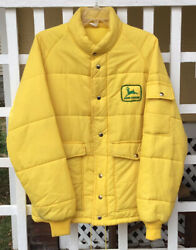 Vintage John Deere Trucker Jacket Farm Patch Seed Agriculture Puffer Med Rare