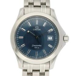 Omega 2511.81 Seamaster 120m Stainless Steel Silver Blue Menand039s Watch [u0829]
