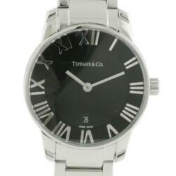 And Co. Atlas Stainless Steel Silver Black Quartz Analog Menand039s Watch U0829