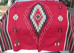 Large Vintage Handwoven Mexican Wool Rug In Red, Green, Beige, Grey 76 X 50