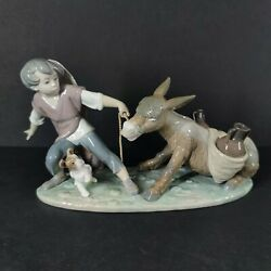 Rare Vintage Lladro Boy Wtih Donkey And Dog - Mint Condition