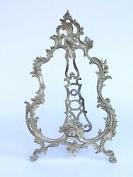 Antique Victorian Mirror Table-top Rococo Ornate Cast Metal 21 Tall X 14 Wide