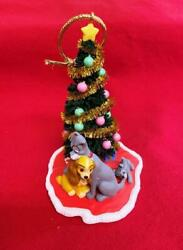 Vintage 2005 Ladyand The Tramp Ornament Bottle Brush Decorated Tree Pups Gifts
